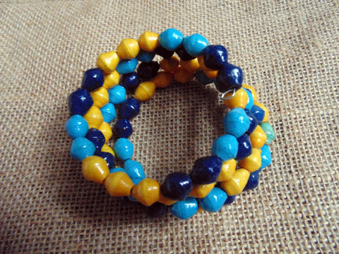 Paper Coil Bracelet-Blue and Yellow