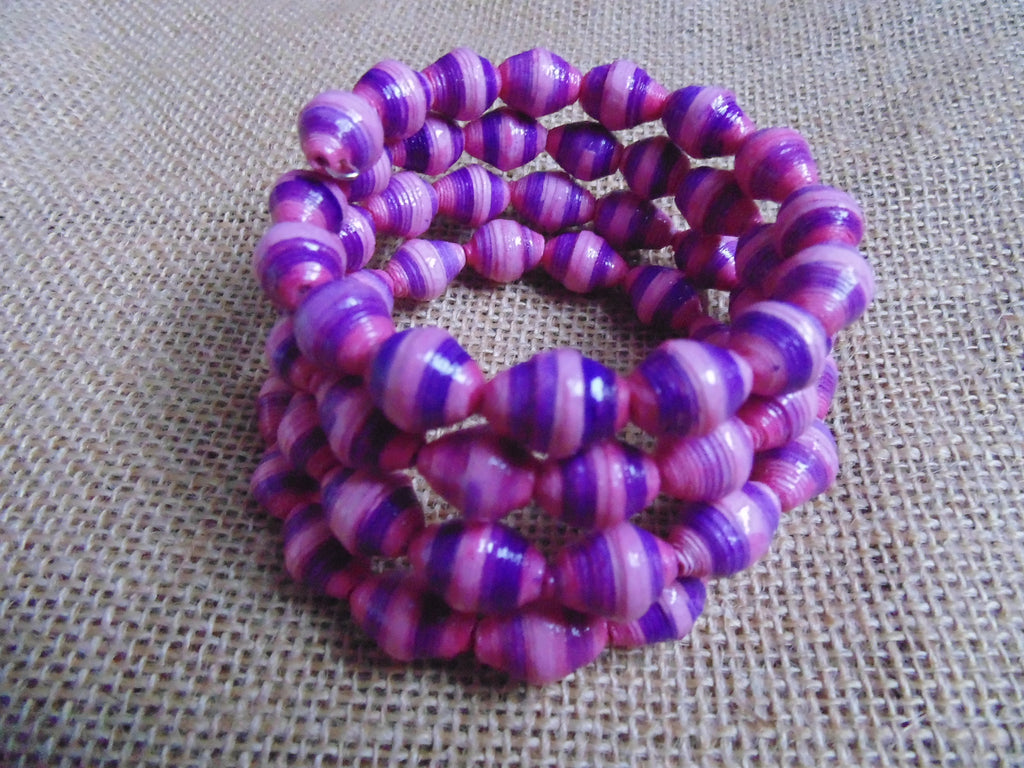 Paper Coil Bracelet-Pink and Purple