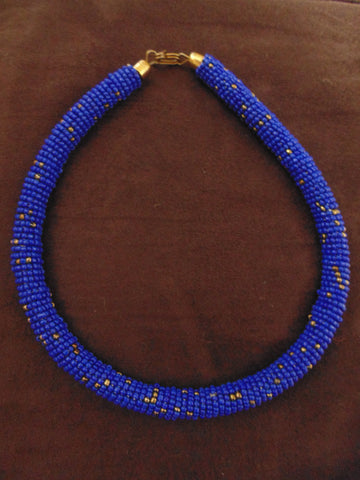 Bead Bangle Necklace-Blue Gold Variation