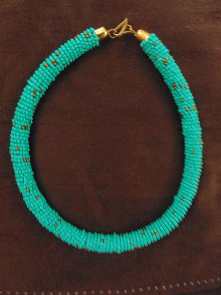 Bead Necklace-Blue Gold Variation 2