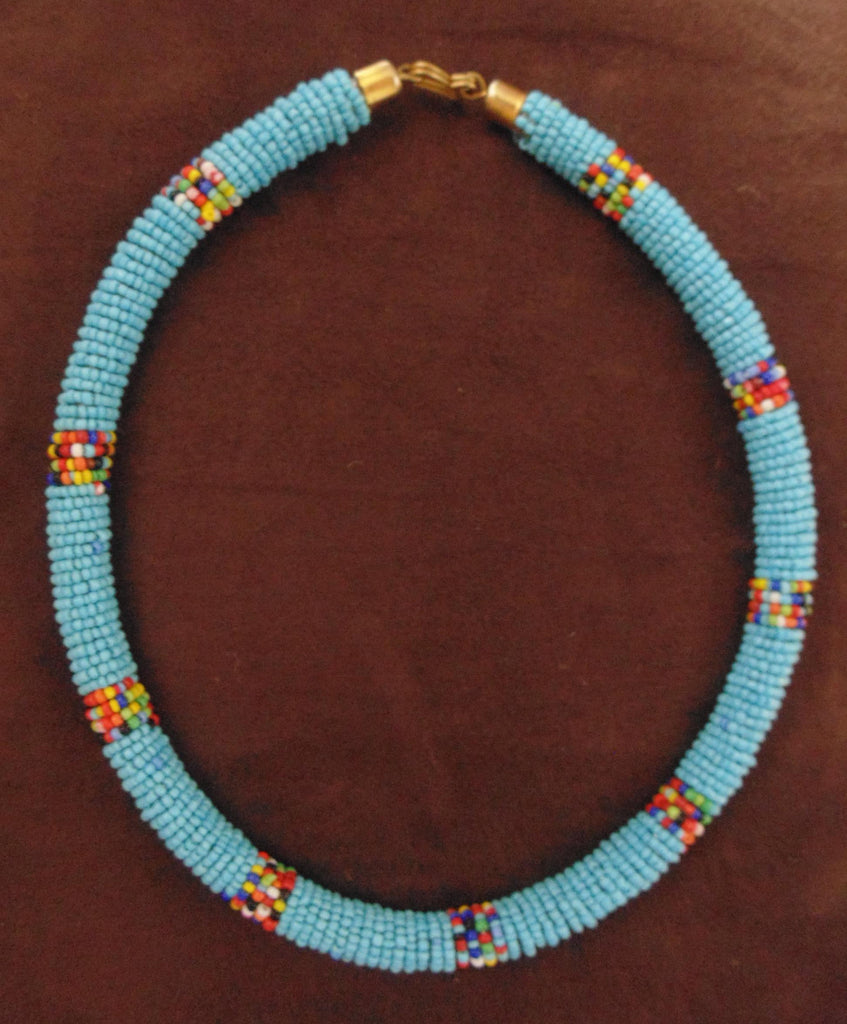Bead Necklace-Blue Multi Colour Variation