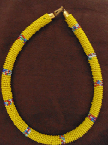 Bead Bangle Necklace-Yellow Multi Colour Variation