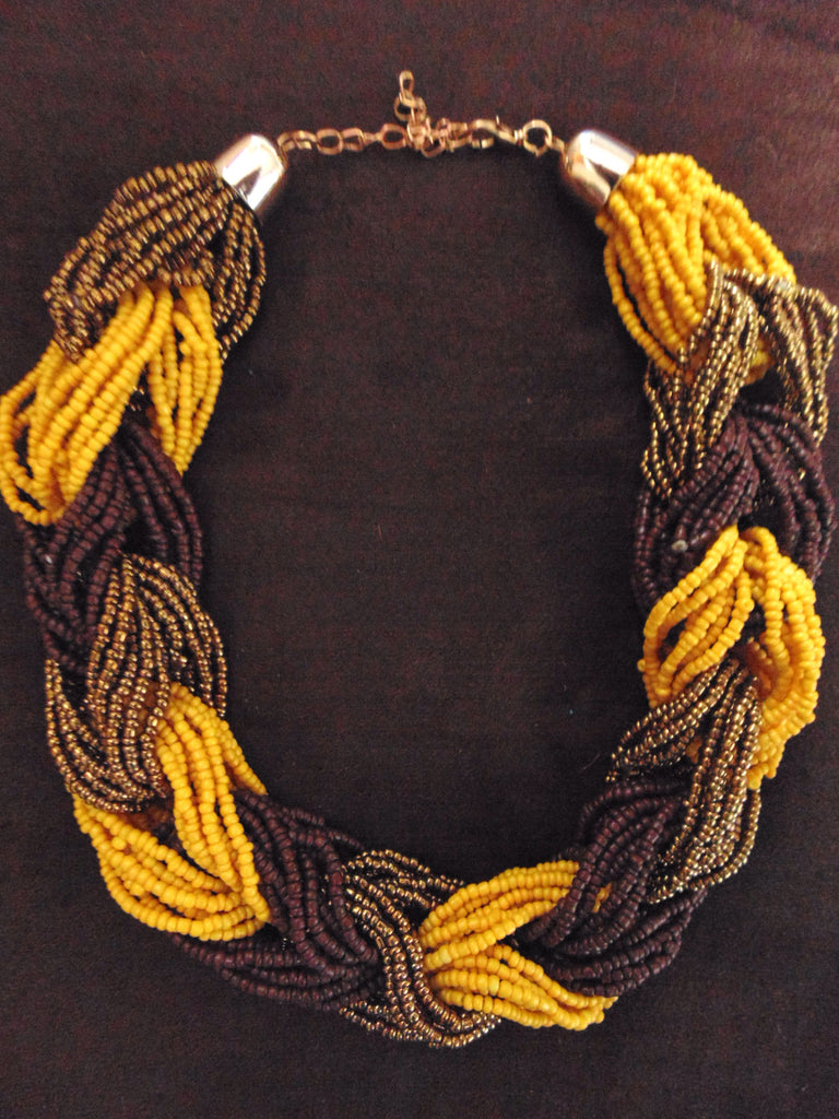 Bead Necklace-Yellow  Brown Variation