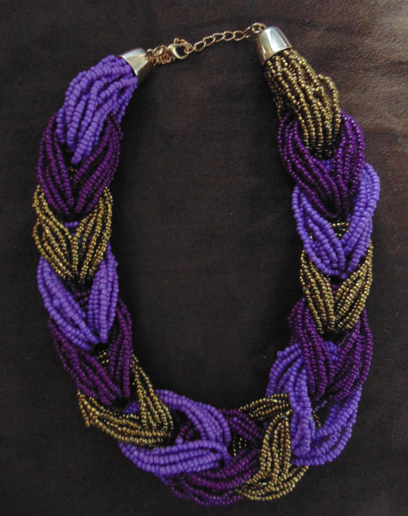 Bead Necklace-Purple Gold Variation