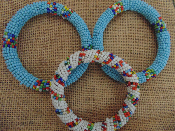 Beaded Bangle-Blue and Multi Colour Variation - Lillon Boutique