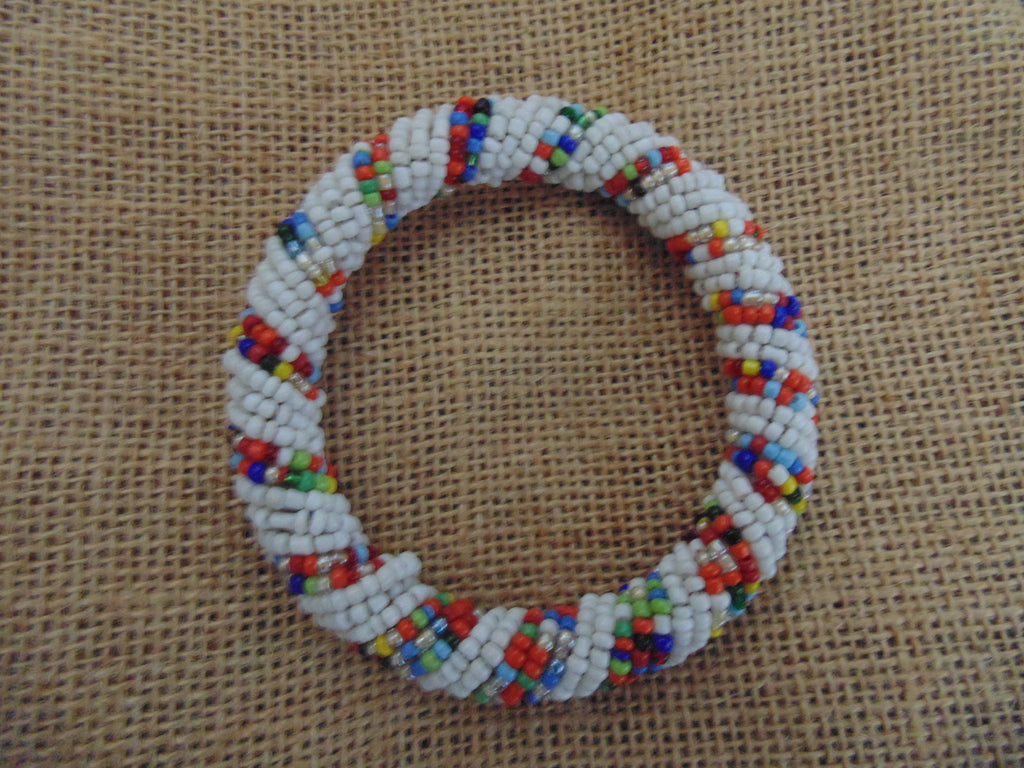 Beaded Bangle-White and Multi Colour 2