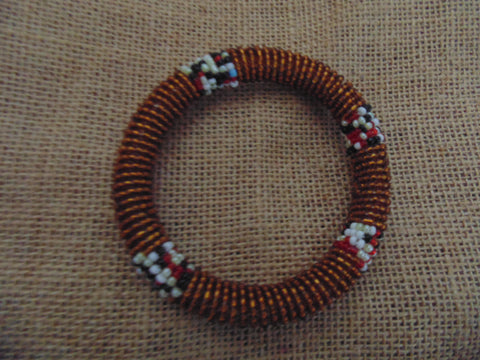 Beaded Bangle-Bronze and Multi Colour Variation