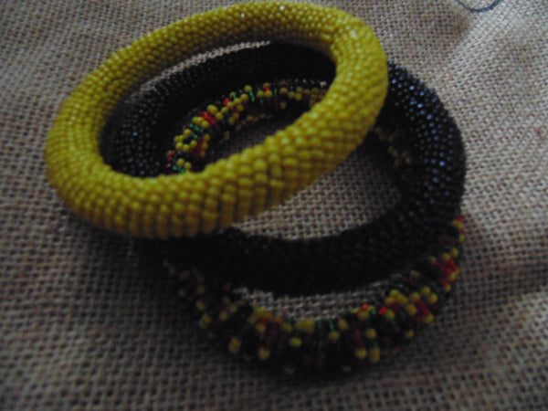 Beaded Bangle-Yellow Black Red Green Variation 2 - Lillon Boutique
