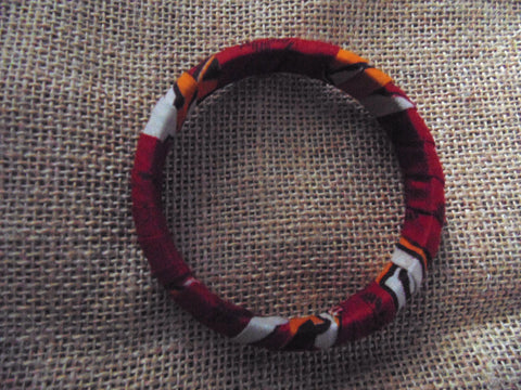 African Print Bangle-Red Variation