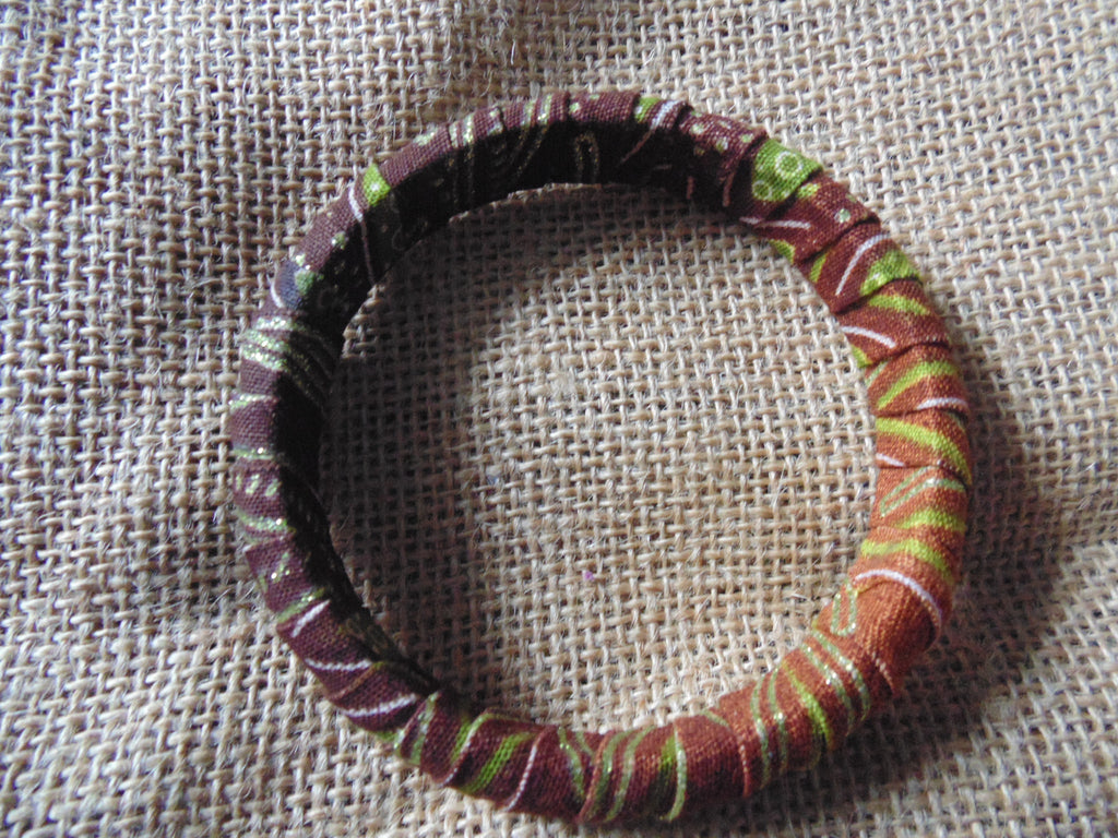 African Print Bangle-Brown Green Variation