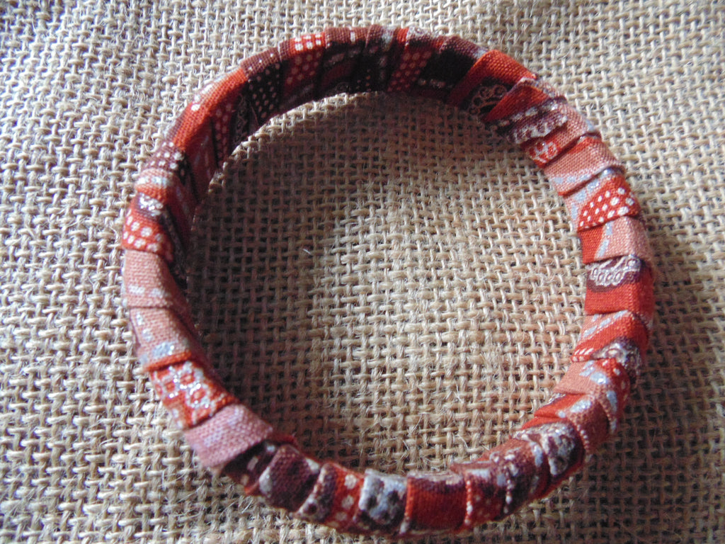African Print Bangle-Red Variation 2