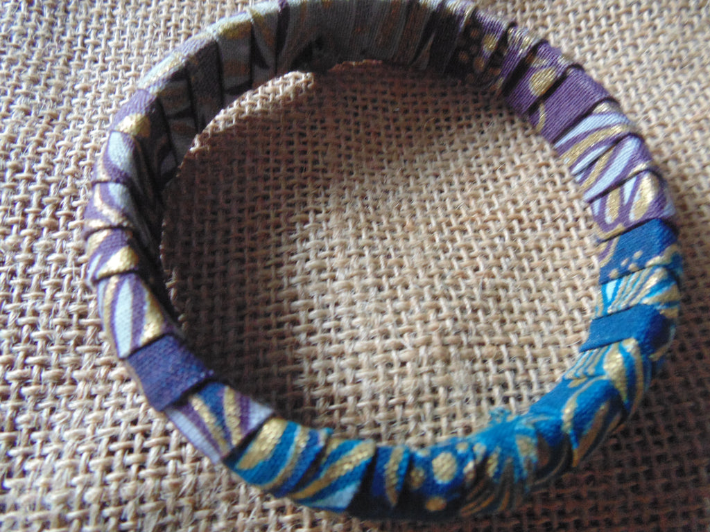 African Print Bangle-Blue Variation