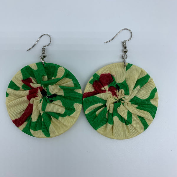African Print Earrings-Round S Green Variation 5