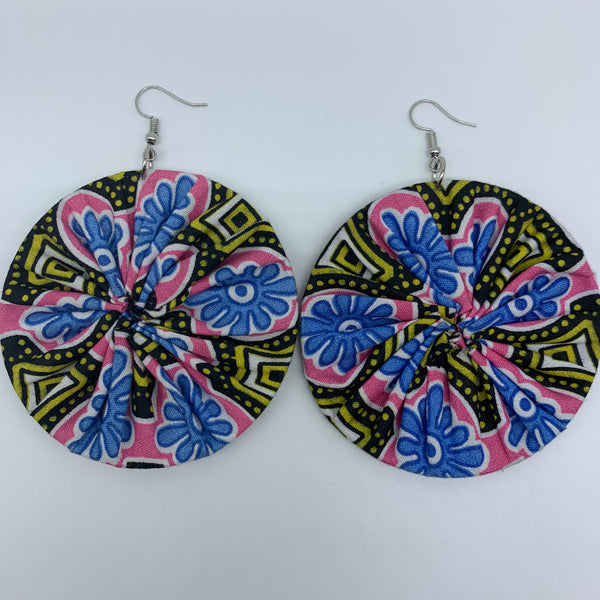 African Print Earrings-Round L Pink Variation