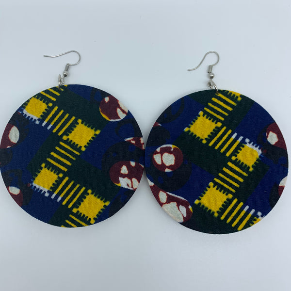 African Print Earrings-Round L Blue Variation 7