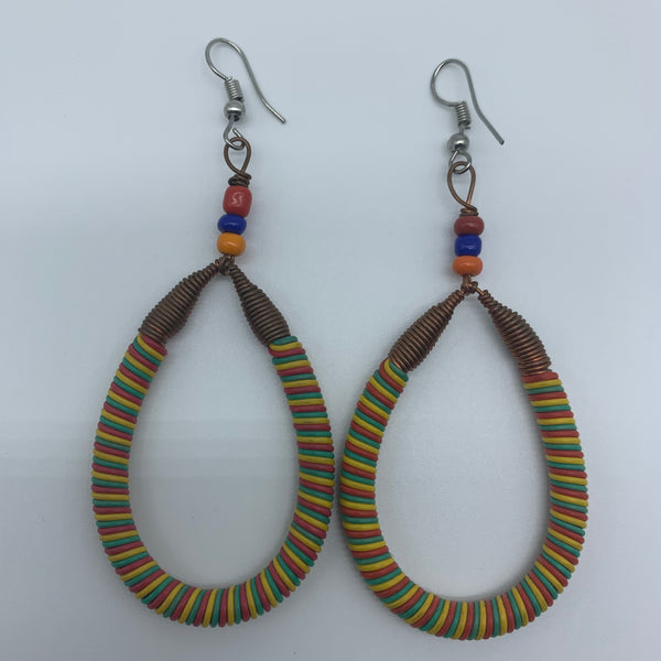 Telephone Wire W/Metal Wire Earrings-Yellow Variation - Lillon Boutique
