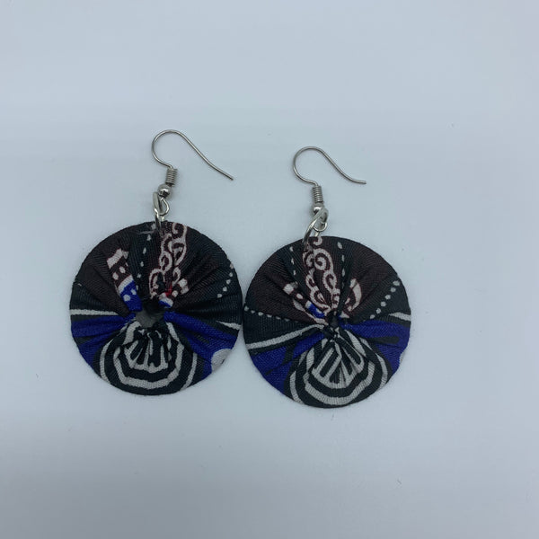 African Print Earrings-Round XS Blue Variation 7 - Lillon Boutique