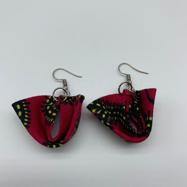 African Print Earrings-Folded Pink Variation 3