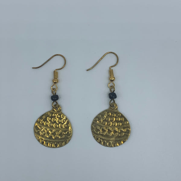 Brass Earrings-Engraved Ball - Lillon Boutique