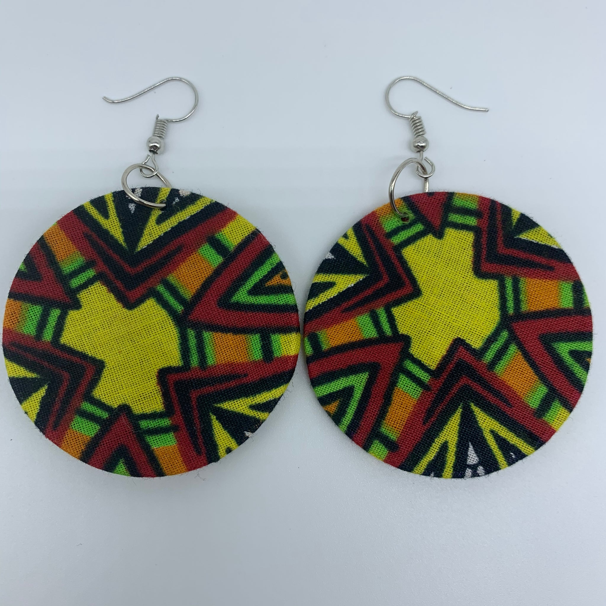 African Print Earrings-Round S Yellow Variation 4