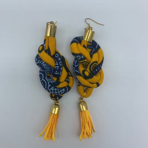 African Print Earrings-Knotted L Yellow Variation - Lillon Boutique