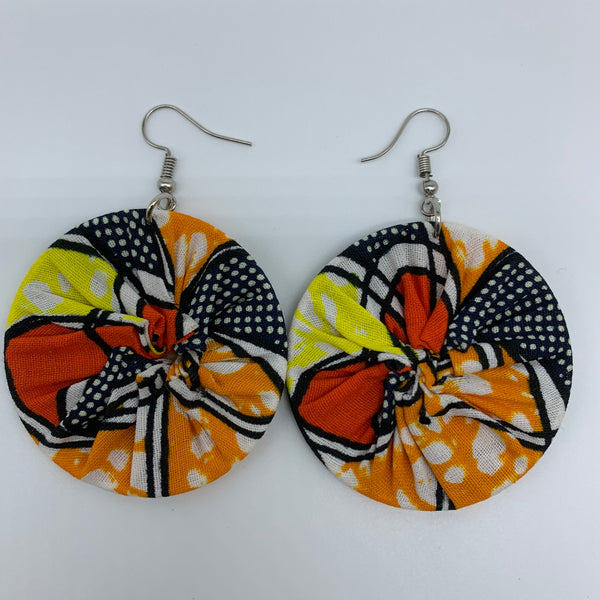 African Print Earrings-Round S Orange Variation 7 - Lillon Boutique