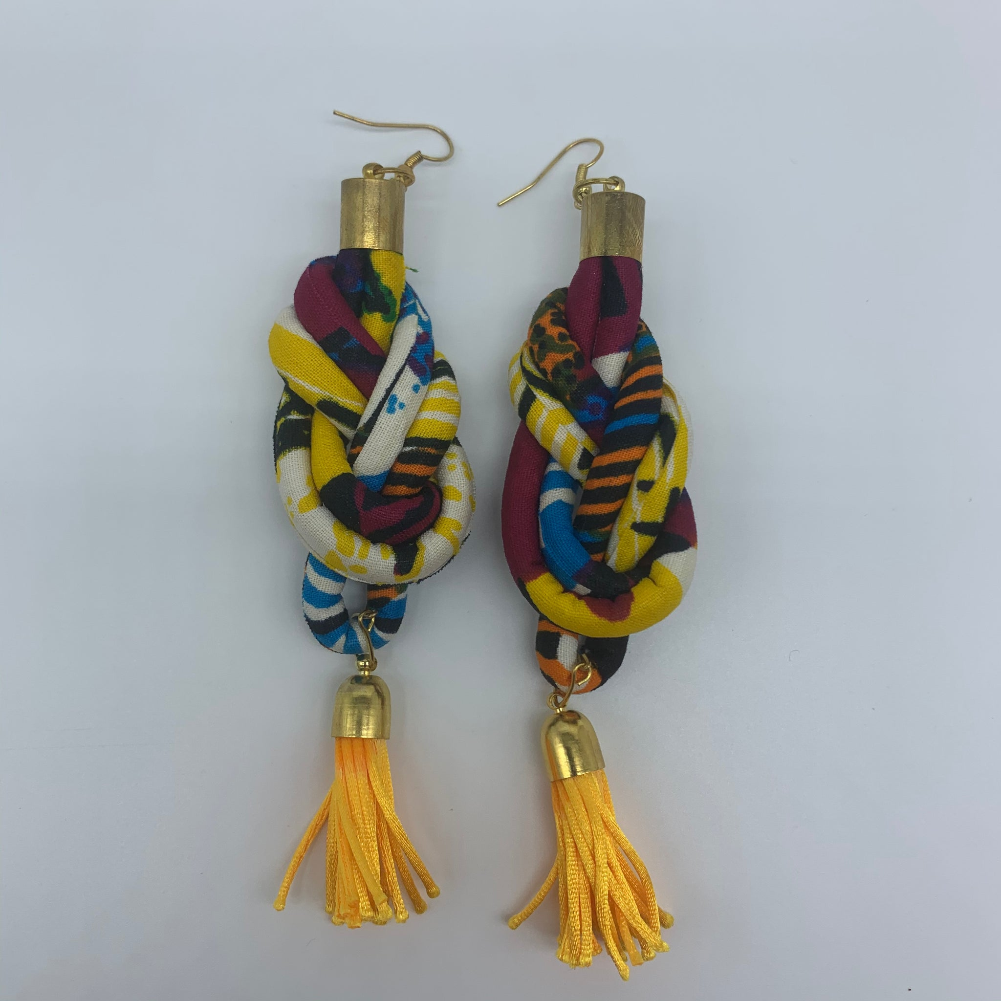 African Print Earrings-Knotted L Yellow Variation 3 - Lillon Boutique