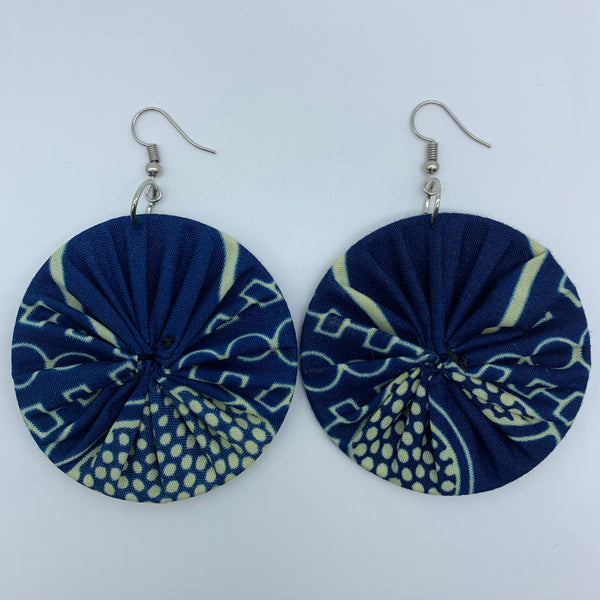 African Print Earrings-Round M Blue Variation 11 - Lillon Boutique