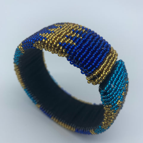 Beaded Bangle-Jumbo Blue Variation - Lillon Boutique