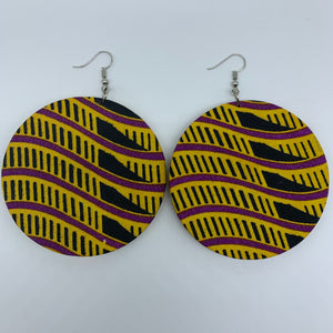 African Print Earrings-Round L Yellow Variation