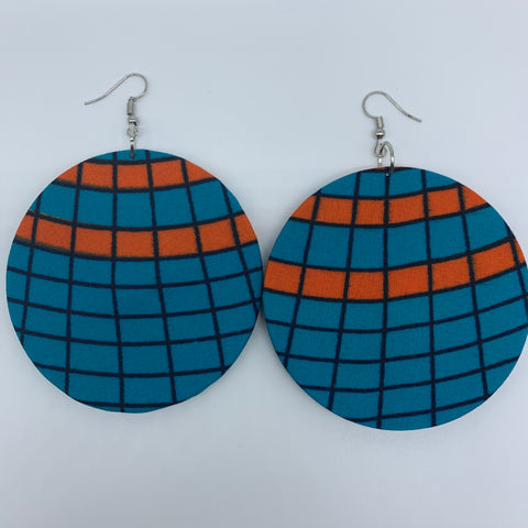African Print Earrings-Round L Blue Variation 3