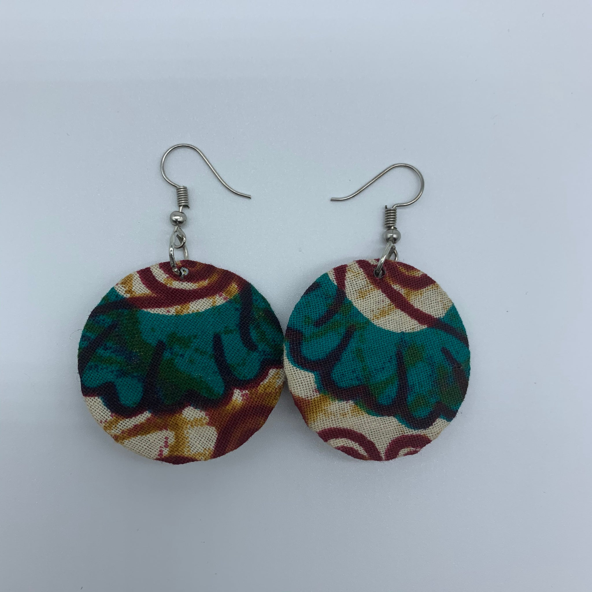 African Print Earrings-Round XS Blue Variation 17