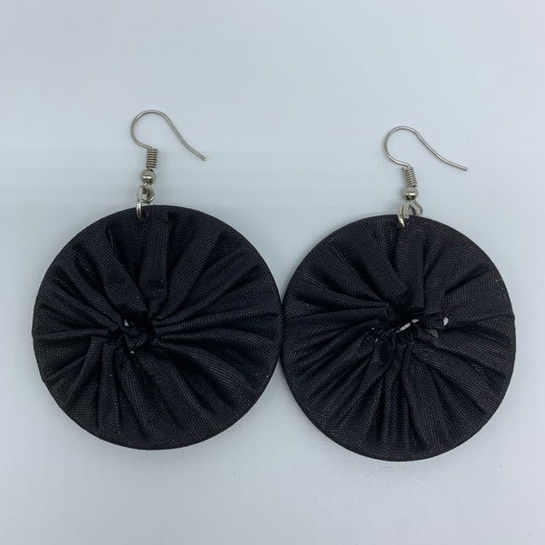 African Print Earrings-Round S Black Variation 4