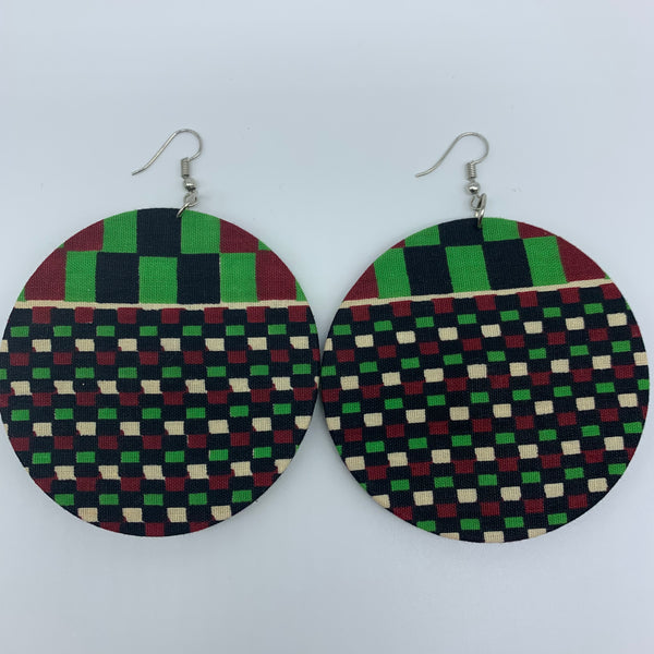 African Print Earrings-Round L Green Variation 4