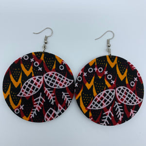 African Print Earrings-Round M Black Variation 6 - Lillon Boutique