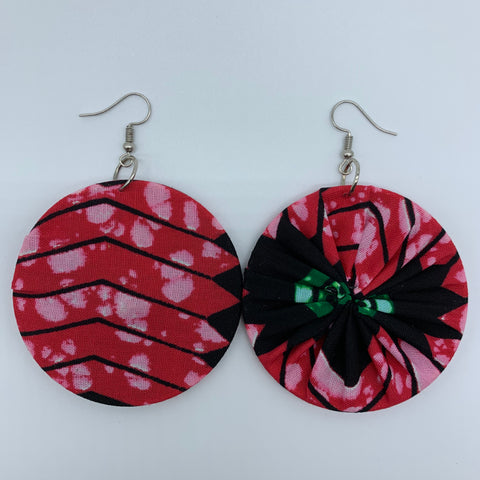 African Print Earrings-Round M Pink Variation 2 - Lillon Boutique