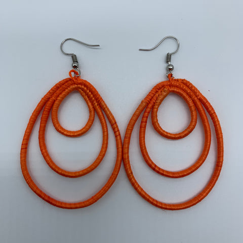 Sisal Earrings- NC Orange Variation 2 - Lillon Boutique