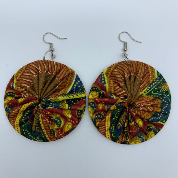 African Print Earrings-Round M Red Variation - Lillon Boutique