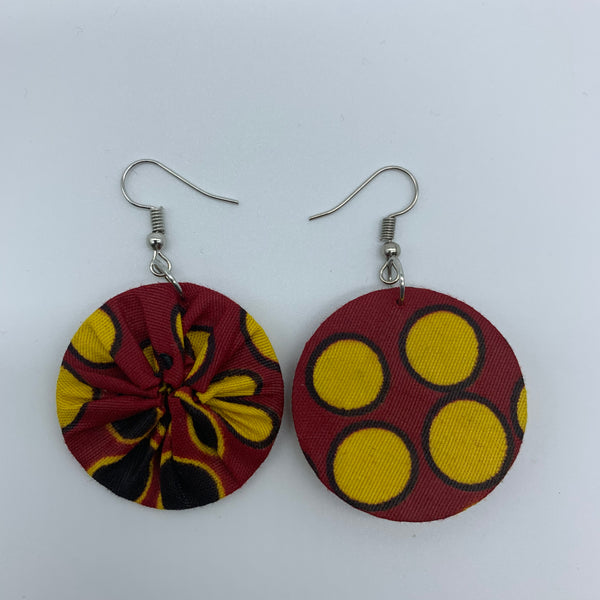 African Print Earrings-Round XS Red Variation 4 - Lillon Boutique