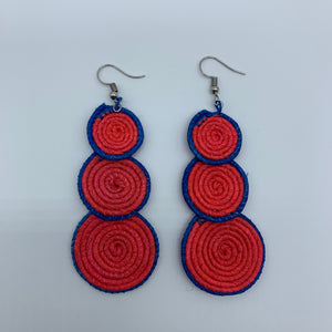 Sisal Earrings- 3C Red Variation 3 - Lillon Boutique