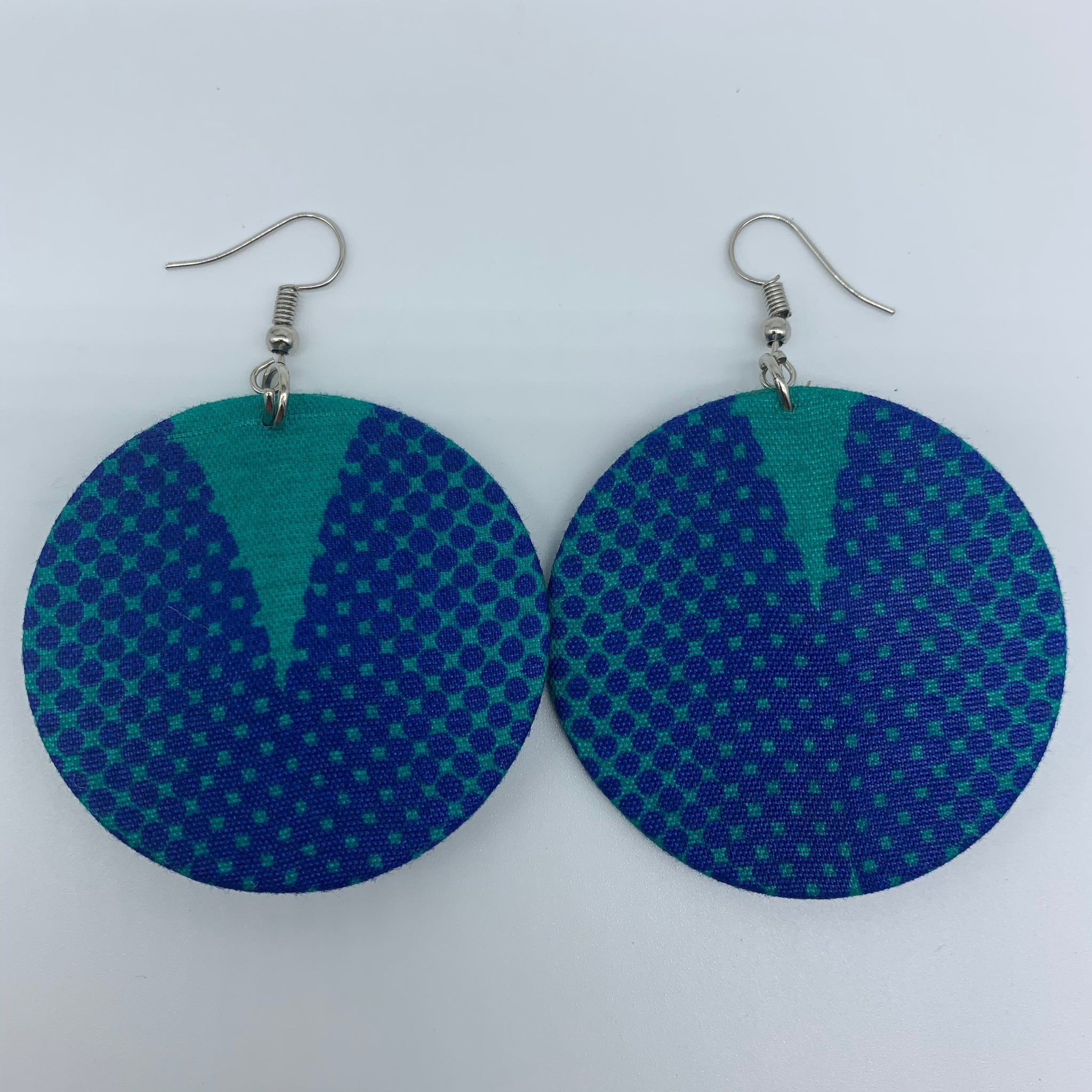 African Print Earrings-Round S Blue Variation 10