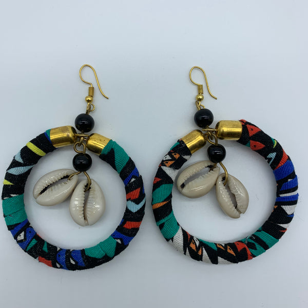 African Print W/Shell Earrings- Black Variation