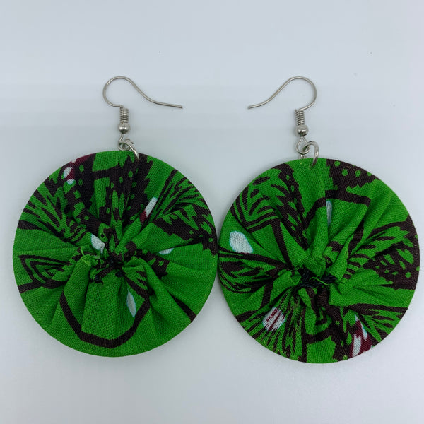 African Print Earrings-Round S Green Variation 8