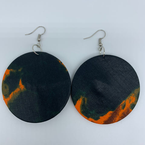 African Print Earrings-Round M Green Variation 3
