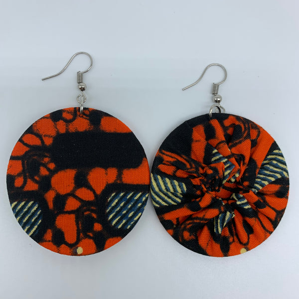 African Print Earrings-Round S Orange Variation 13 - Lillon Boutique