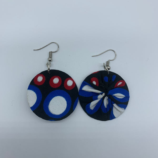 African Print Earrings-Round XS Blue Variation 11 - Lillon Boutique