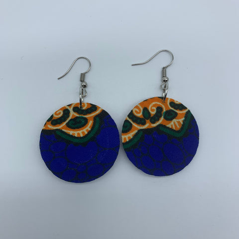 African Print Earrings-Round XS Blue Variation 5 - Lillon Boutique