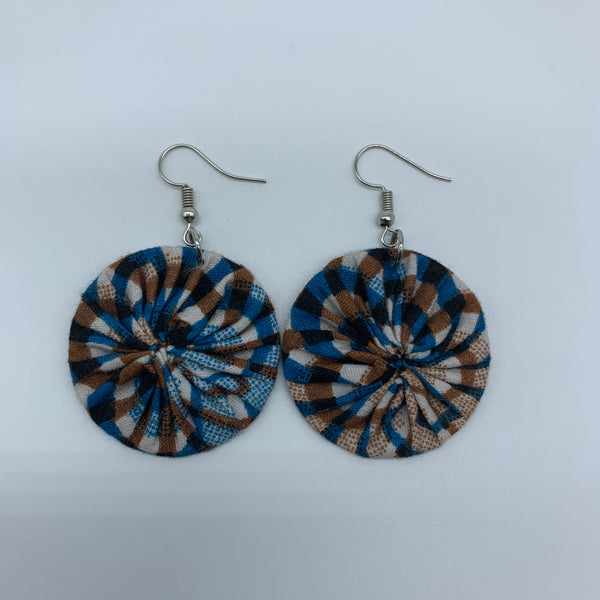 African Print Earrings-Round XS Blue Variation 15