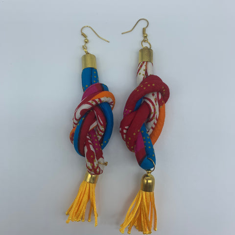 African Print Earrings-Knotted L Red Variation - Lillon Boutique
