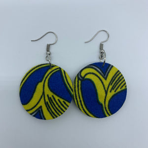African Print Earrings-Round XS Blue Variation 9 - Lillon Boutique